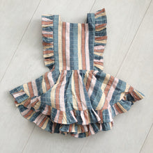 vintage embroidered stripe pinafore 2t