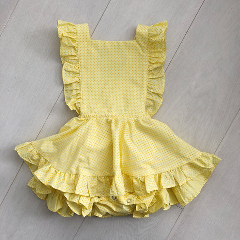 vintage lemon swiss dot pinafore 2t