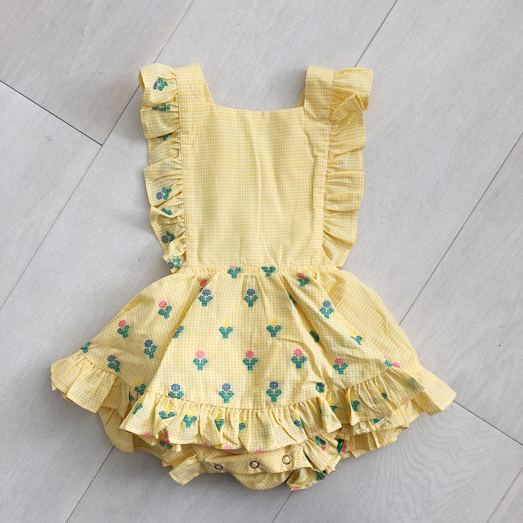 vintage embroidered gingham pinafore 2t
