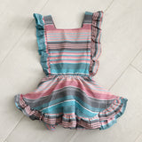 vintage silk stripe pinafore 2t