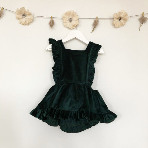 emerald velvet pinafore