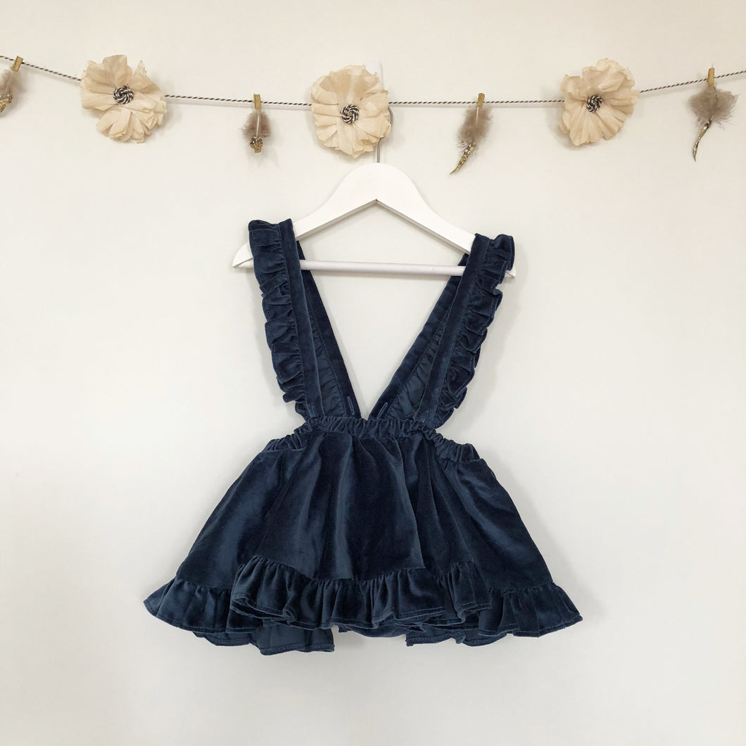 nordic blue velvet suspender skirt