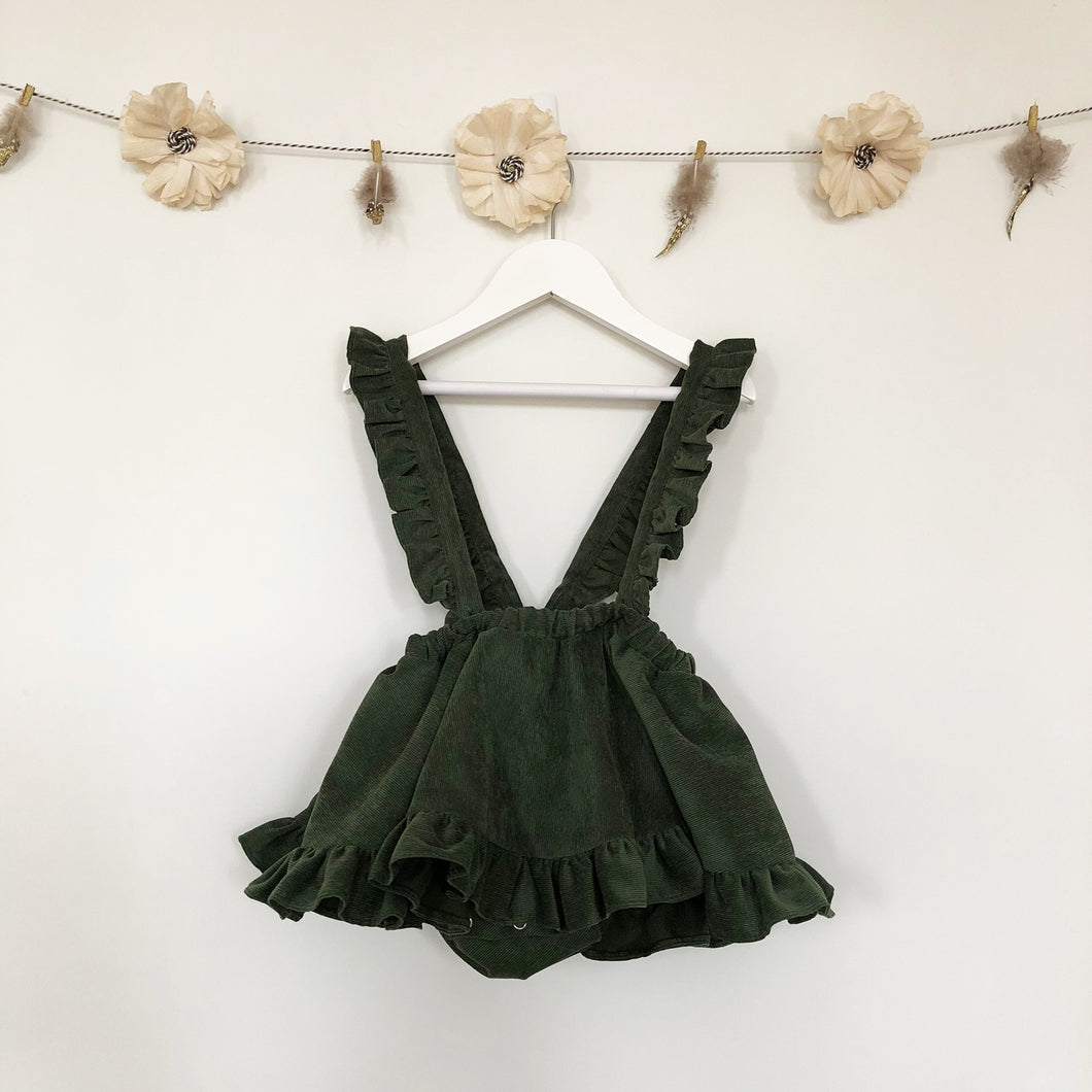 green corduroy suspender skirt