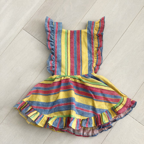 vintage yellow stripe pinafore 3t
