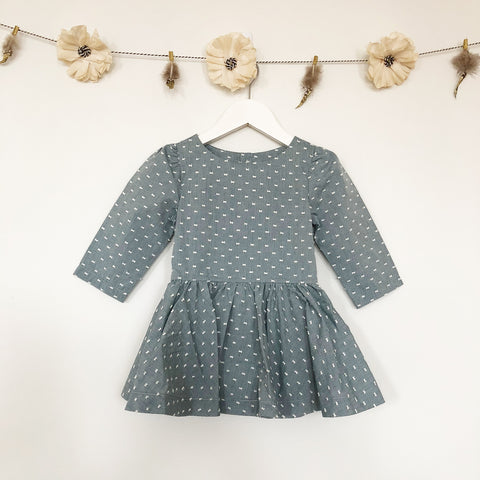 green swiss dot 3/4 sleeve dress
