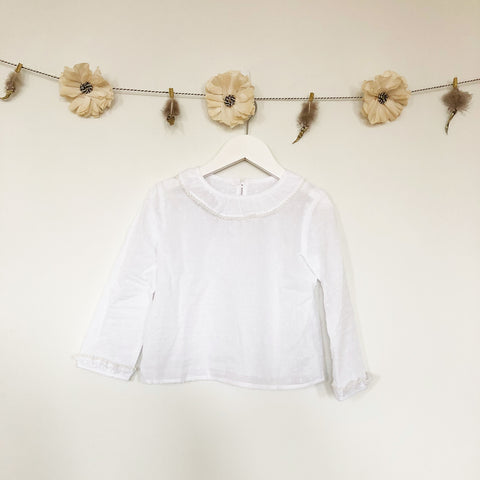 white swiss dot peter pan blouse