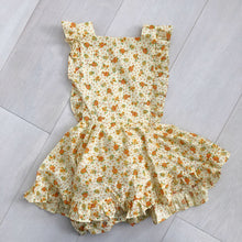 vintage yellow dimity floral pinafore 4t