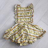vintage mustard floral pinafore 6t