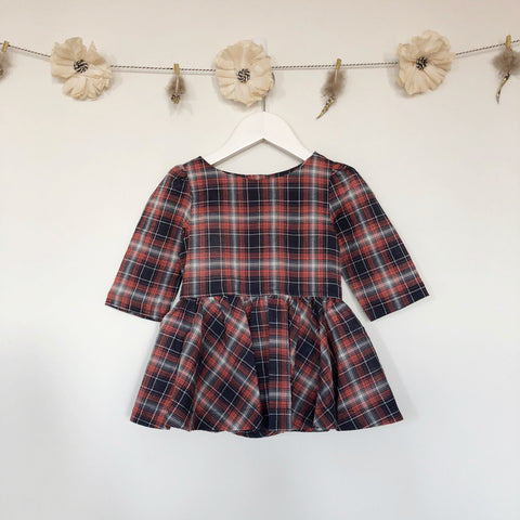 navy plaid 3/4 sleeve dress - 18/24, 2t, 3t