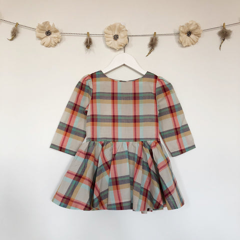 coral plaid 3/4 sleeve dress - 4t
