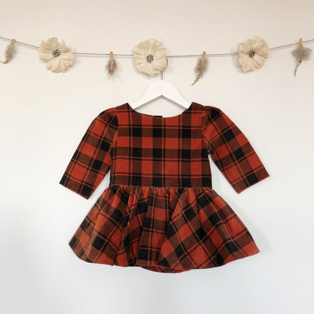 vintage rust plaid corduroy 3/4 sleeve dress - 2t