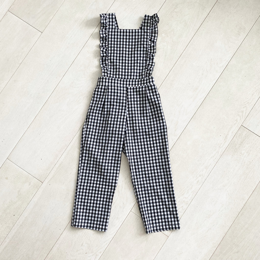 black + white gingham jumpsuit