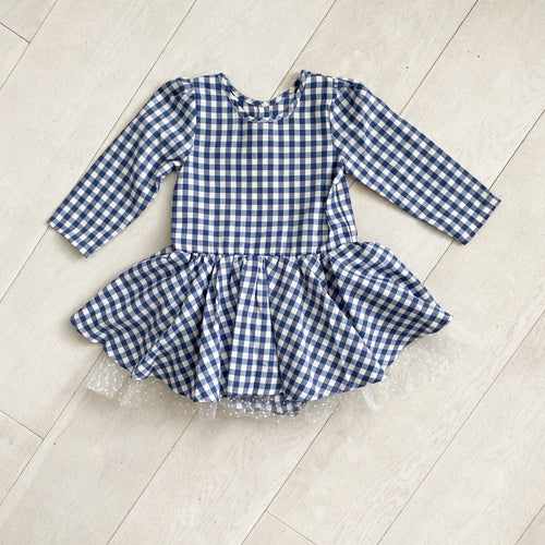 blue gingham 3/4 sleeve dress