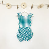 teal gingham sunsuit