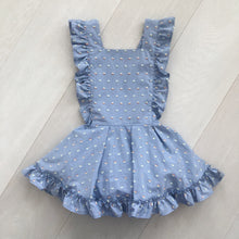 sky blue clip dot pinafore with double ruffle