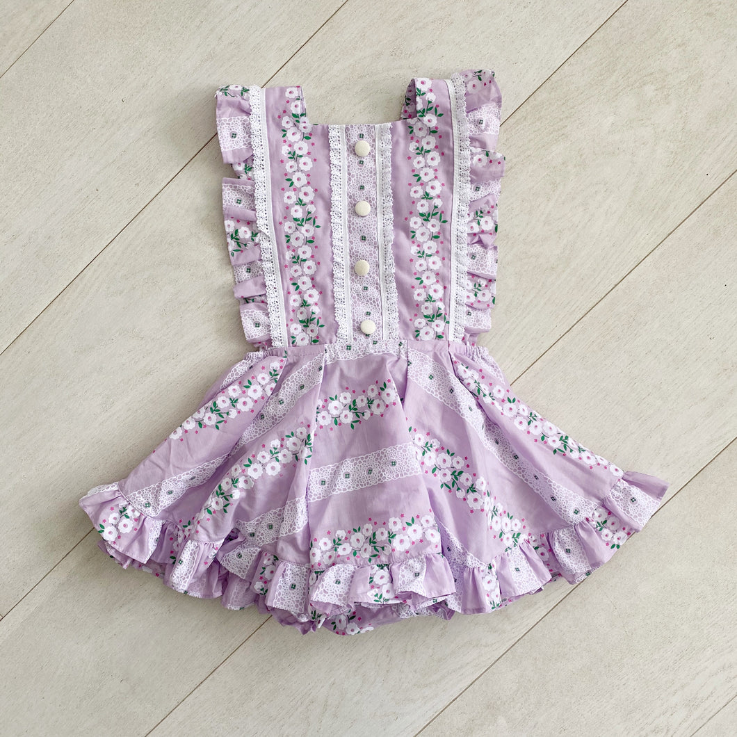 lavender flocked floral chain pinafore