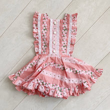 pink flocked floral chain pinafore