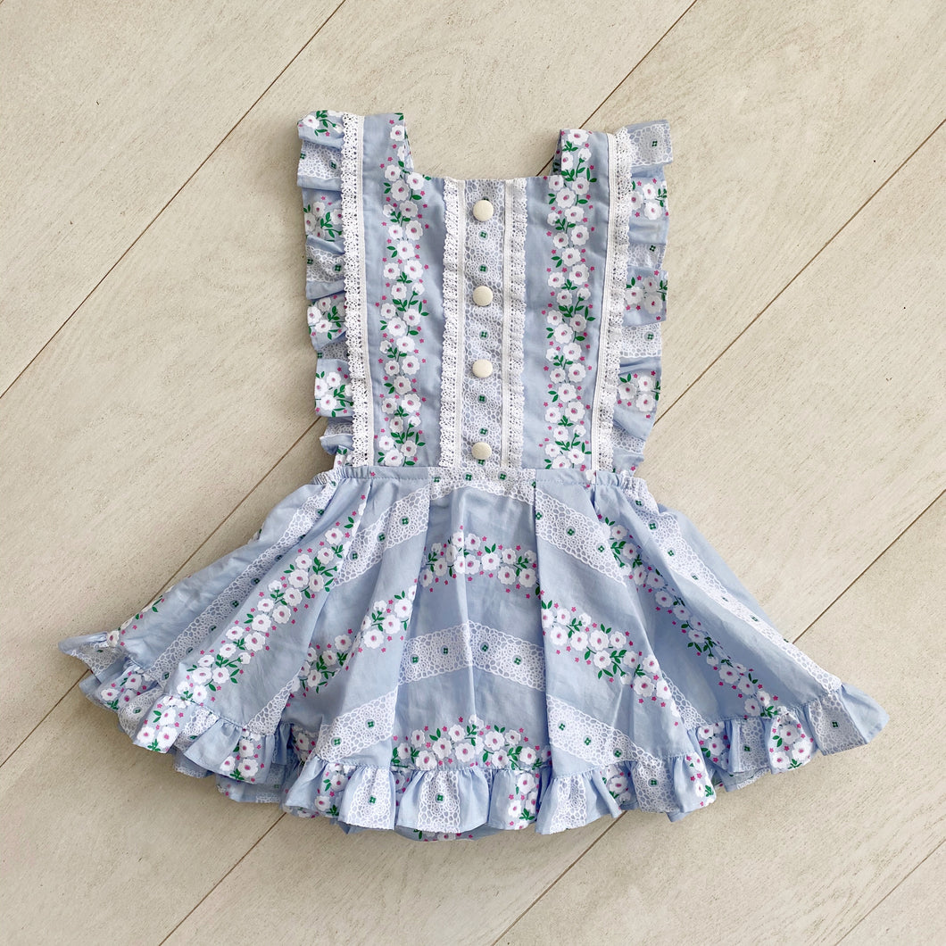 blue flocked floral chain pinafore