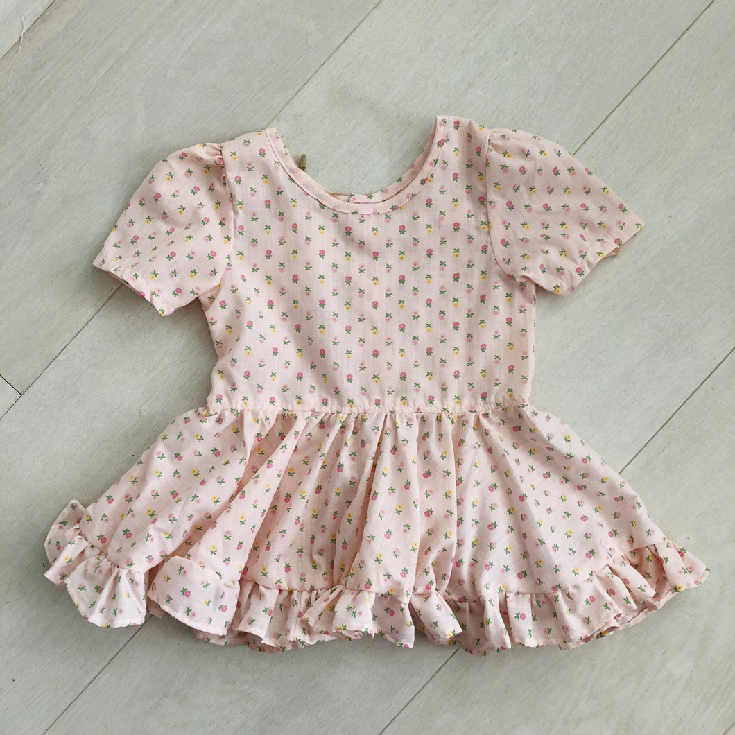 vintage pink daisy dress 2t
