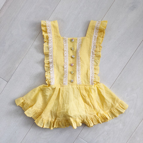 vintage mellow yellow swiss dot pinafore 3t