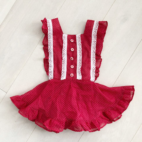 vintage red daisy swiss dot pinafore 3t