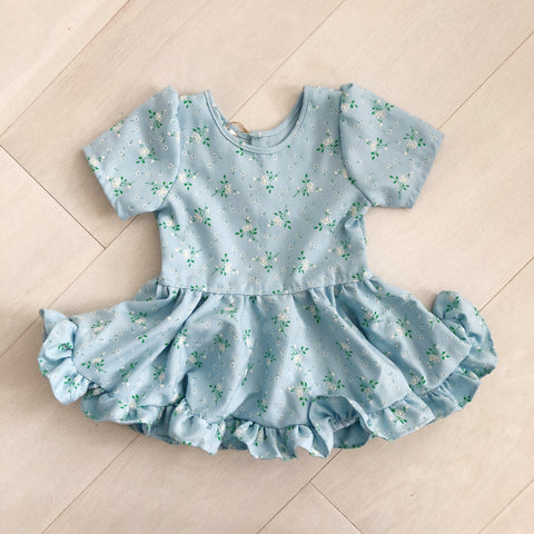 vintage flocked daisy dress 3t