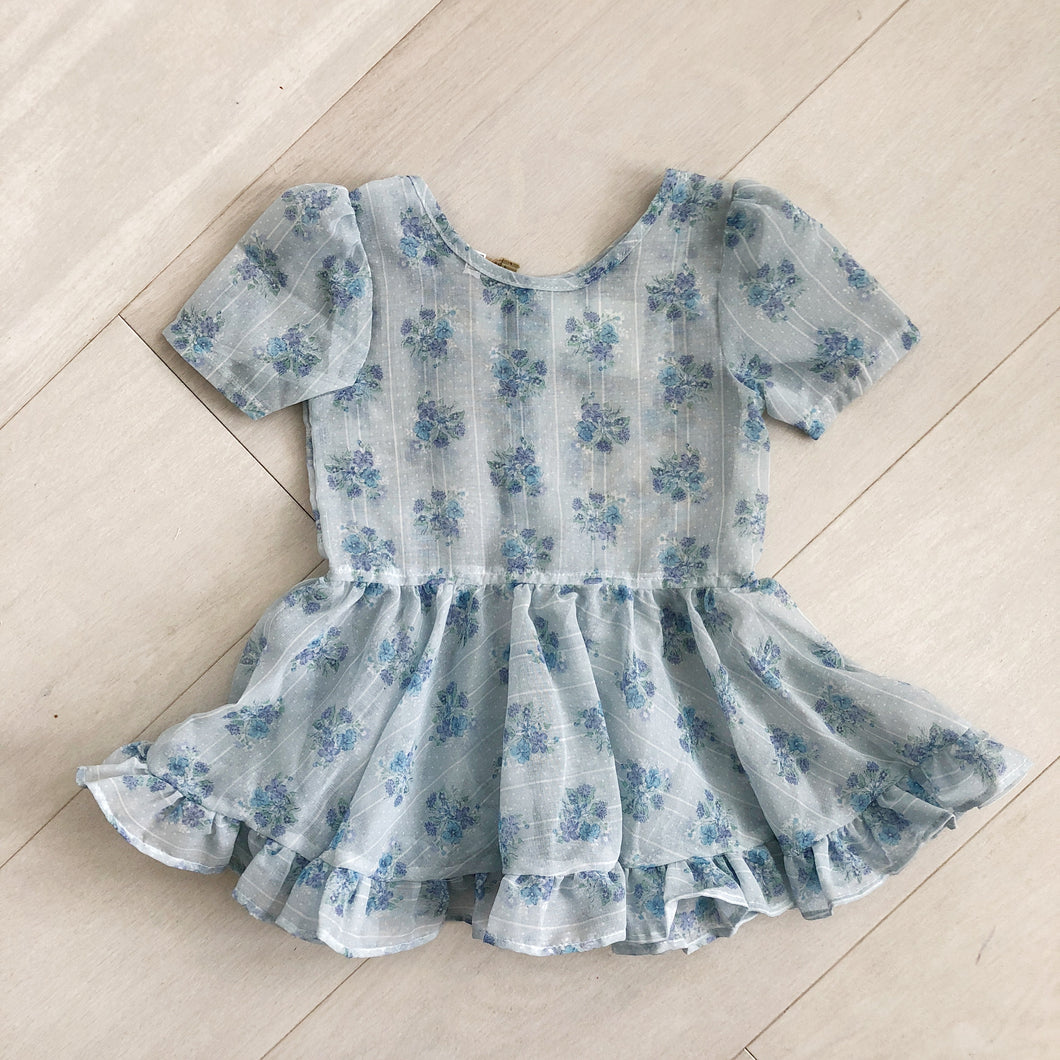 vintage sheer blue floral dress 3t