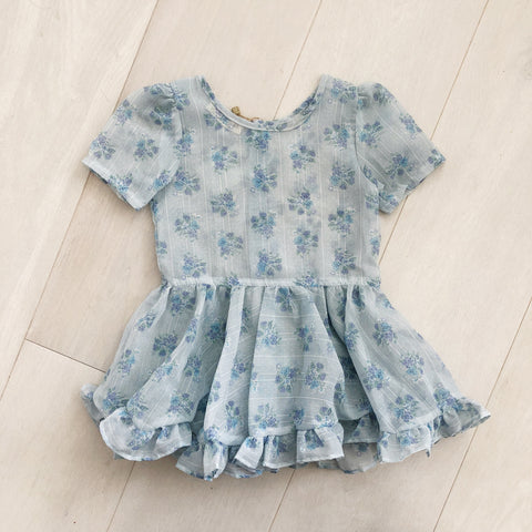 vintage sheer blue floral dress 4t