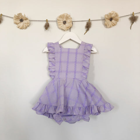 vintage embroidered lavender pinafore - 2t, 5t