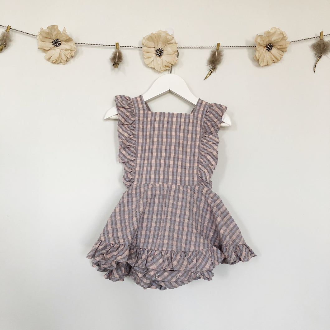 vintage lilac plaid pinafore - 2t, 5t