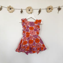 vintage orange and raspberry floral pinafore - 2t, 3t