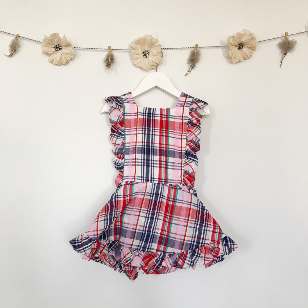 vintage pink plaid seersucker pinafore - 3t, 4t