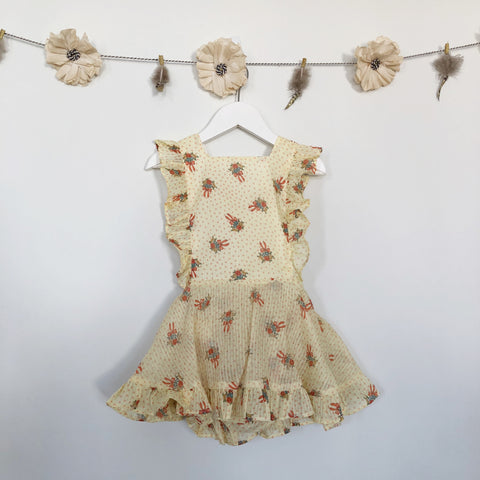 vintage yellow bouquet pinafore - 3t
