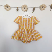 vintage orange floral stripe short sleeve dress - 6/12