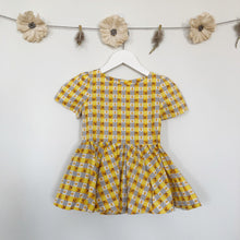 vintage yellow plaid short sleeve dress - 12/18, 2t, 3t