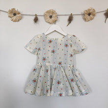 vintage blue floral stripe short sleeve dress - 2t, 5t