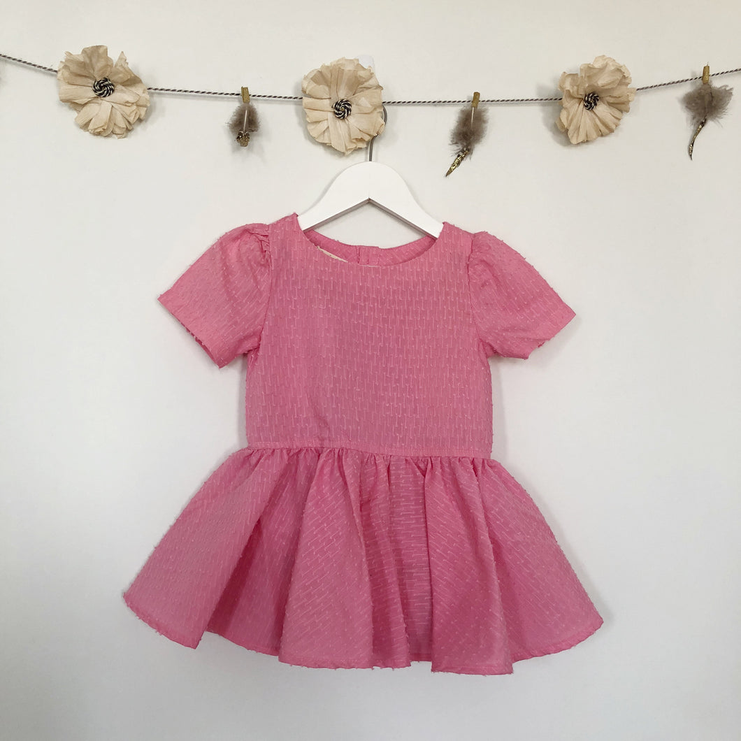 vintage bubblegum swiss dot short sleeve dress - 3t
