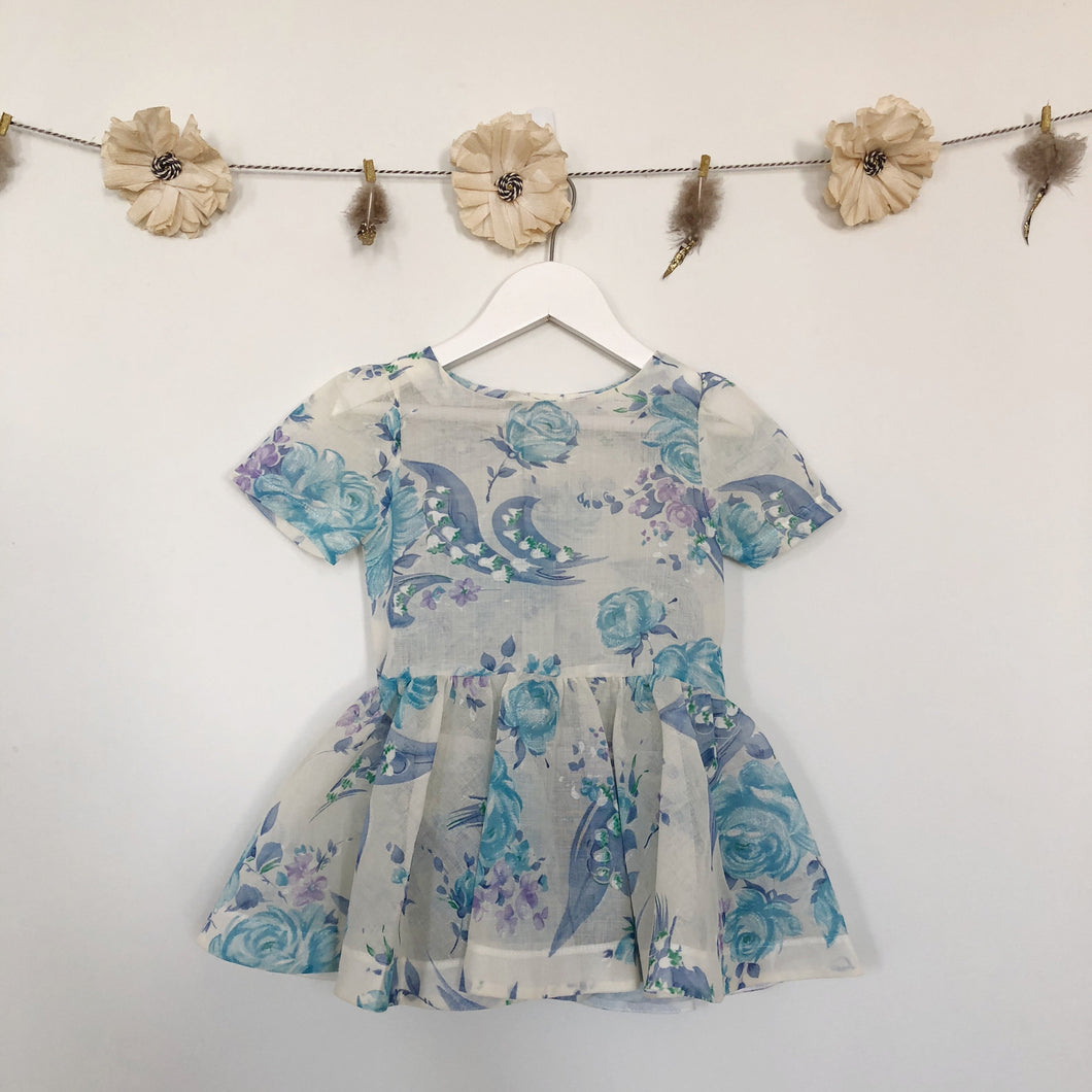 vintage sheer blue roses short sleeve dress - 3t, 4t