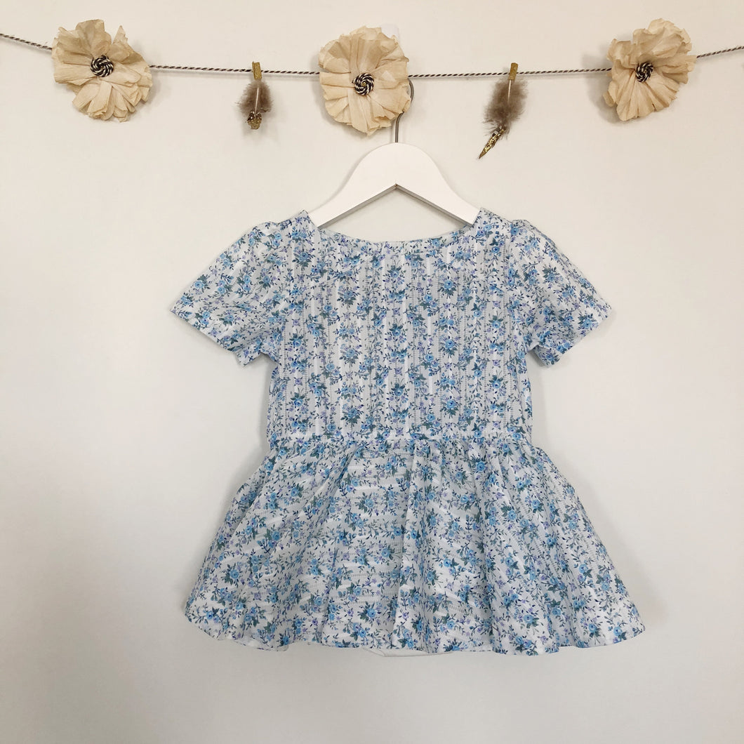 vintage blue dimity garden short sleeve dress - 2t, 3t