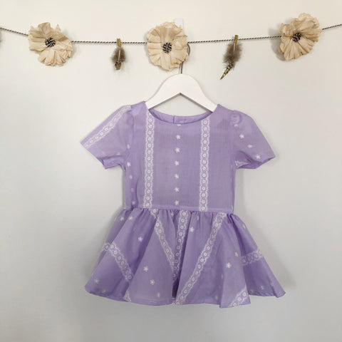 vintage lavender lace short sleeve dress - 3t, 4t