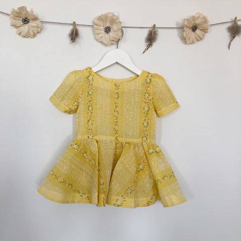 vintage pale yellow flocked flower short sleeve dress - 2t