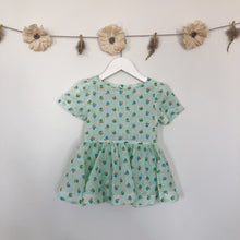 vintage green floral stripe short sleeve dress - 2t, 3t, 4t