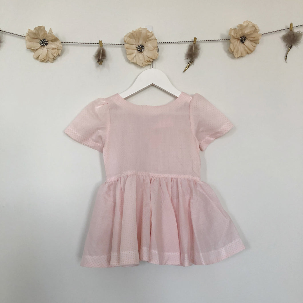 vintage blush swiss dot short sleeve dress - 18/24, 2t, 3t, 4t
