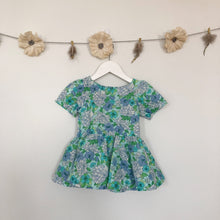 vintage blue floral liberty short sleeve dress - 18/24