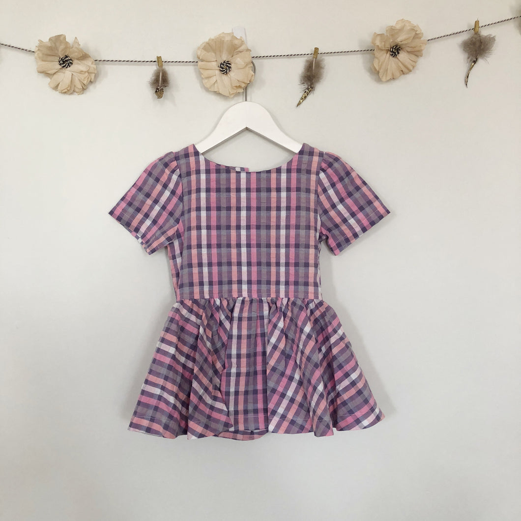 vintage pink and purple plaid short sleeve dress - 3t