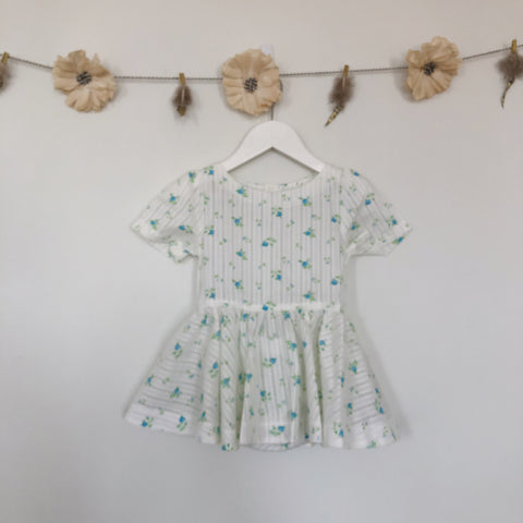 vintage blue roses short sleeve dress - 2t, 3t
