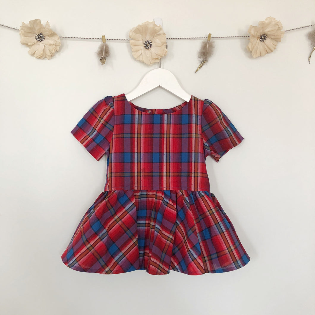 vintage red plaid short sleeve dress - 18/24, 2t, 3t