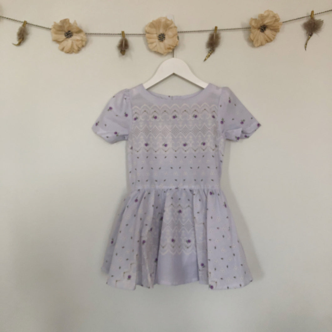 vintage lavender garden short sleeve dress - 5t