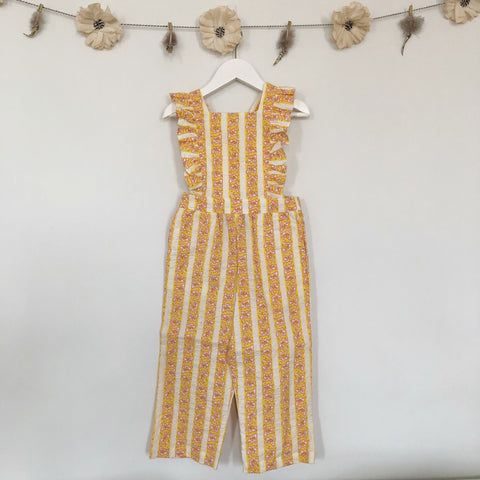 vintage orange floral stripe jumpsuit - 18/24, 2t, 3t