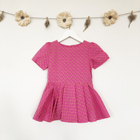 pink swiss dot dress